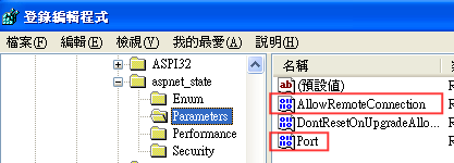 先找到 HKEY_LOCAL_MACHINE\SYSTEM\CurrentControlSet\Services\aspnet_state\Parameters\Port