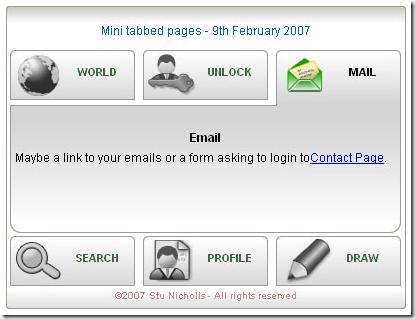CSS Play Mini Tabs - Yahoo style Drop Down Tab Interface