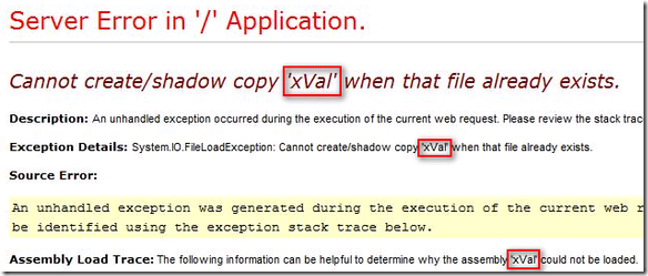 Cannot create/shadow copy 'xVal' when that file already exists.
