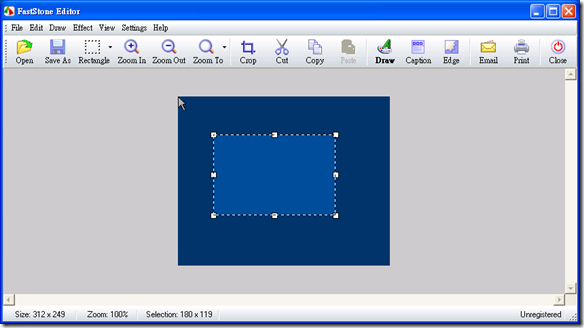 簡單的圖片編輯功能他都有,在 Edit 選單內都可以看見相關功能。像是剪裁(Crop)、重定大小(Resize)、模糊化(Blur)、翻轉(Rotate)、加邊框(Edge)、加浮水印(Watermark)、......都是夠用且實用的功能。