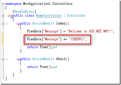 "ViewData[""Message""] += ""(DEBUG)"";"