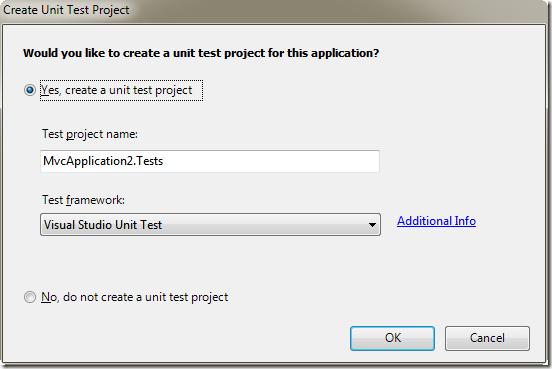 建立 MVC 專案時可以順便建立 單元測試(Unit Test) 專案