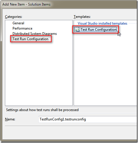 選取 [Test Run Configuration] / [Test Run Configuration] 並按下 [Add] 新增進去