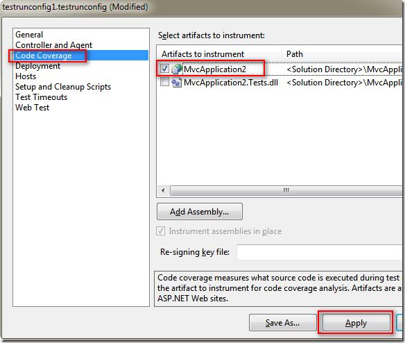 同時間也會跳出 testrunconfig1.testrunconfig 設定對話框,請切換到 [Code Coverage] 頁籤並勾選 MvcApplication 專案,讓該專案在被測試時可以自動計算 Code Coverage 相關數據。