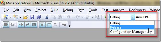 切換 Solution Configurations 即可套用不同的 MvcBuildViews 設定