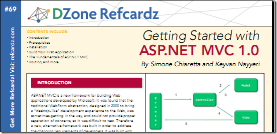 Getting Started with ASP.NET MVC 1.0 [ DZone Refcardz ]