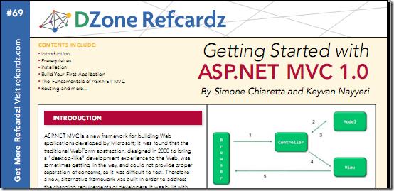 Getting Started with ASP.NET MVC 1.0 [ DZone Refcardz ]