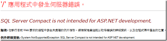 SQL Server Compact is not intended for ASP.NET development.