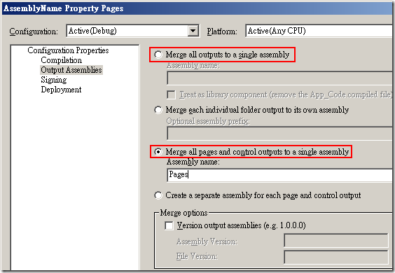 Web Deployment Project Property Pages :: Configuration Properties –> Output Assemblies