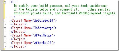 你可以自行修改 Web Deployment Project 的專案檔( *.wdproj ),此專案檔其實就是透過 MSBuild 編譯執行的