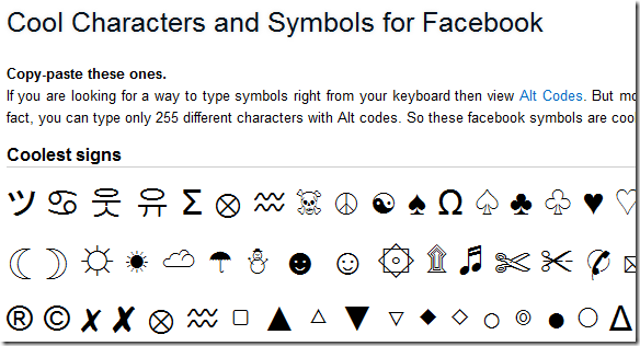 Cool Characters and Symbols for Facebook