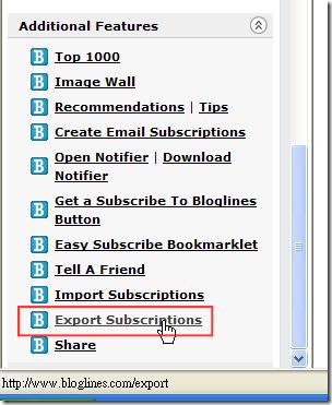 Bloglines - Export Subscription