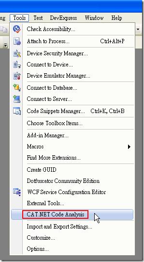 先用 Visual Studio 開啟開發中的專案,然後從選單 Tools –> CAT.NET Code Analysis 開啟工具視窗