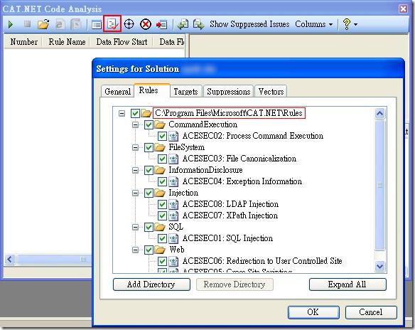 CAT.NET Code Analysis - Settings