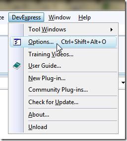 開啟 DevExpress 的 Options 選單