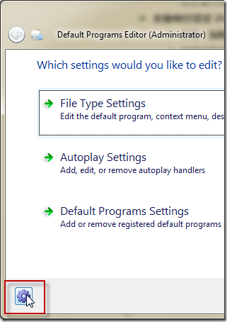 Default Programs Editor -> Options