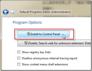 Default Programs Editor -> Options -> Install to Control Panel