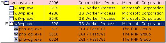 用 Process Explorer 查看 IIS 的 w3wp.exe Process