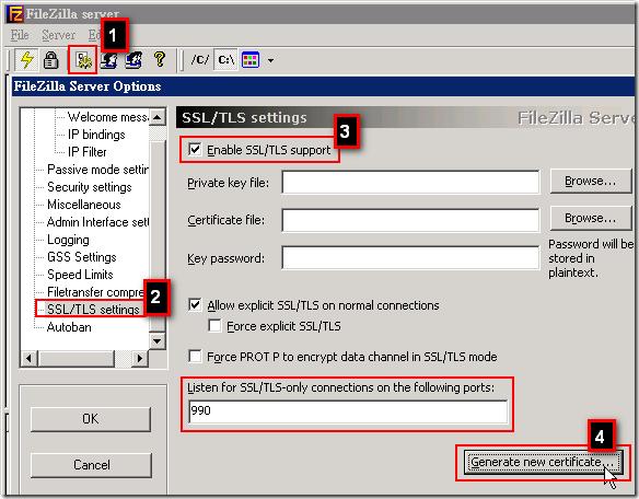 FileZilla Server: 先啟用 SSL/TLS 支援,然後建立一個測試用憑證