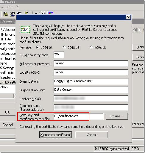 輸入一些基本資料,如果這台 FTP 是自己用的,就不用講究這麼多啦,隨便填一填,最後要指定儲存憑證的檔名與路徑,再按下 Generate certificate 即可。