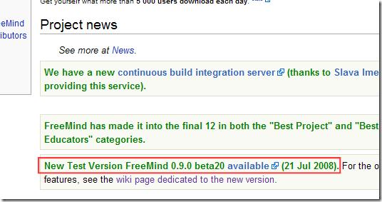 FreeMind 0.9.0 beta20