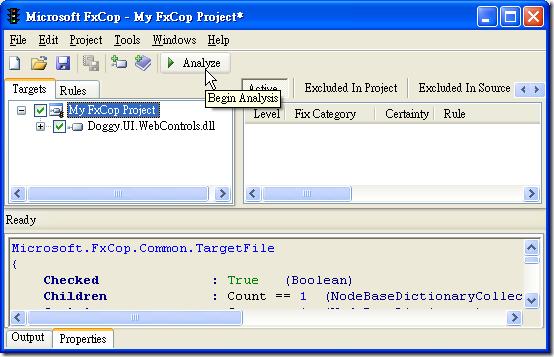 Microsoft FxCop - Targets - Begin Analysis