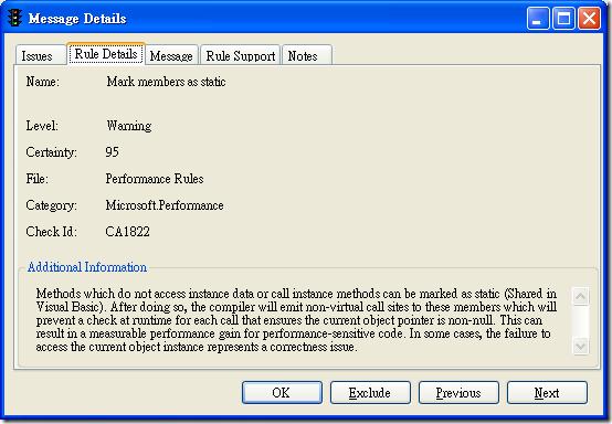 Microsoft FxCop - Message Details - Rule Details