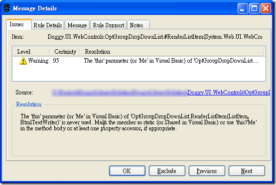 Microsoft FxCop - Message Details - Issues