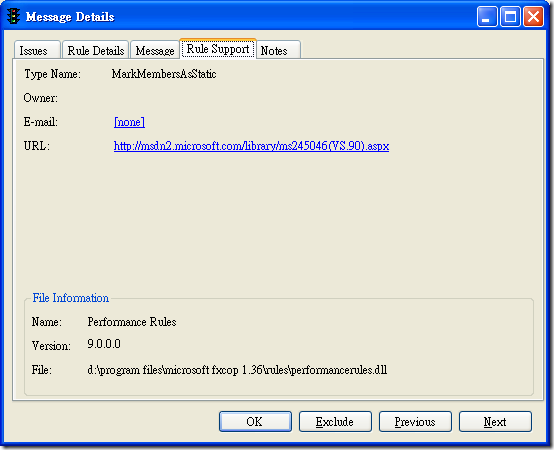 Microsoft FxCop - Message Details - Rule Support