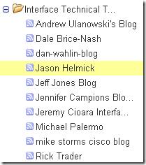Google Reader: 在左邊的 RSS 訂閱項目清單中移動光棒