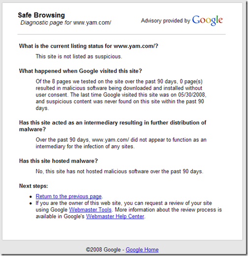 Google Safe Browsing Diagnostic Result