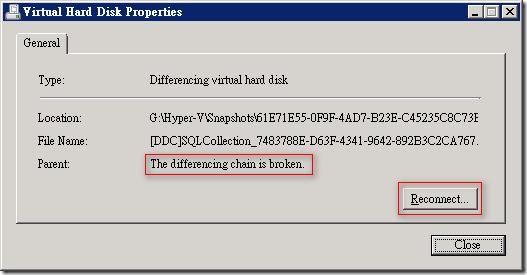 先選取最新的快照磁碟,此時由於差異磁碟檔名已經變更,所以必須重新設定連接父磁碟