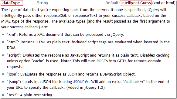 jQuery.ajax( options ) - dataType - Intelligent Guess