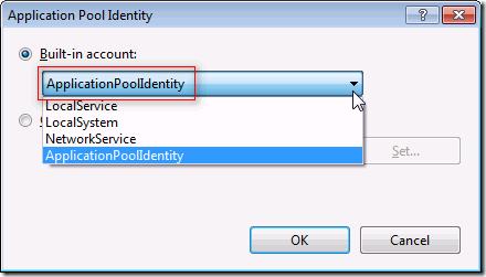 IIS 7.5 :: Application Pools :: Advanced Settings :: Application Pool Identity