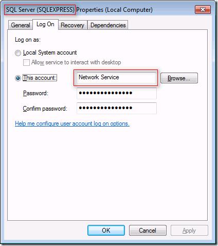 SQL Server (SQLEXPRESS) Properties
