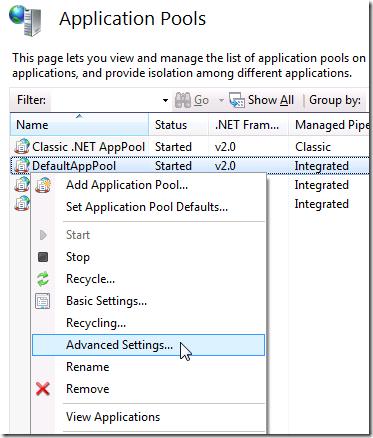IIS 7.5 :: Application Pools