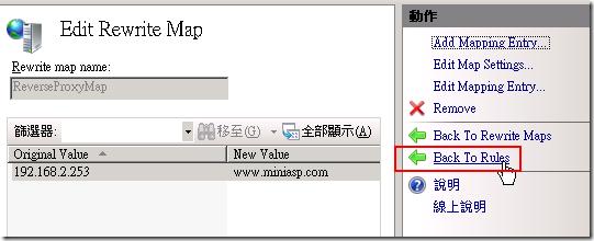 然後我們點選 Back To Rules 準備進行修改 URL Rewrite 的主要設定。