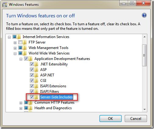 要使用 Server-Side Include功能 一定要先安裝 Server-Side Include 模組 ( Windows 7 )