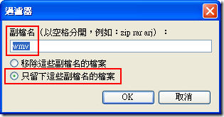 在『過濾器』的視窗打上 wmv ,因為我們只要下載 *.wmv 的影片檔而已。