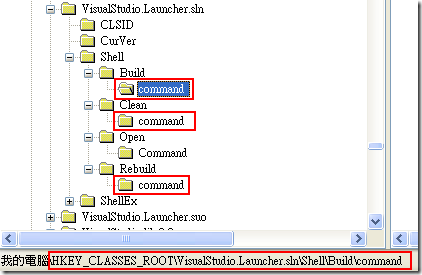 開啟 regedit 並進入 HKEY_CLASSES_ROOT\VisualStudio.Launcher.sln 機碼