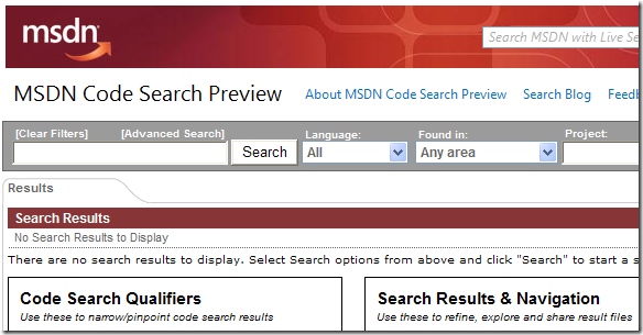 MSDN Code Search Preview