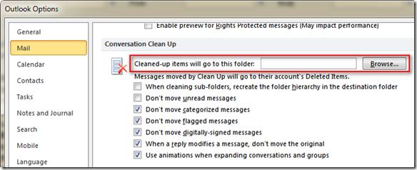 由於預設的清理郵件資料夾是在「刪除的郵件」,事實上你可以自行指定這些「被清理」的郵件要儲存的資料夾