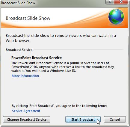 點擊 [Start Broadcast] 就會將此文件發佈到微軟的 Live 網站,這裡甚至還保留空間可以自訂廣播位址
