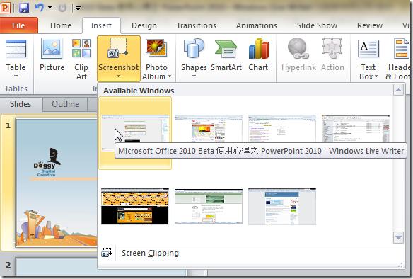 直接插入目前電腦任何一個視窗的畫面截圖(Screenshot)