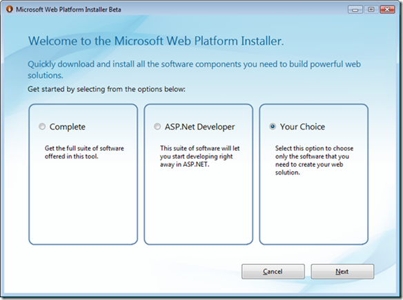 Microsoft Web Platform Installer Beta