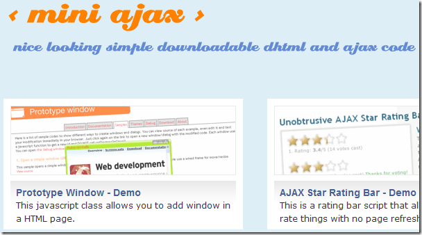 MiniAjax.com / A showroom of nice looking simple downloadable DHTML and AJAX scripts