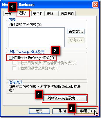點選 [進階] 頁籤,並先取消勾選 [使用快取 Exchange 模式],再點選 [套用] 後,點擊 [離線資料夾設定] 按鈕
