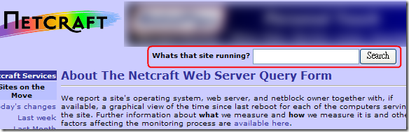 The Netcraft Web Server Query Form