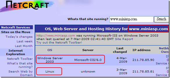 The Netcraft Web Server Query Form : OS, Web Server and Hosting History for www.miniasp.com