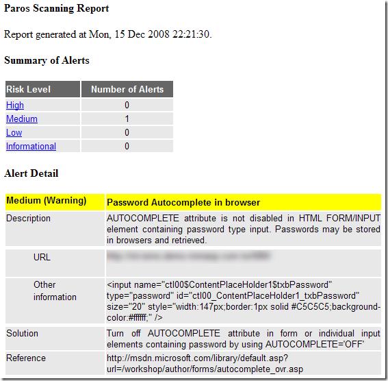 Paros Scanning Report